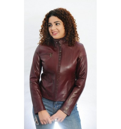 amplia selección de colores y diseños invicto x claro y distintivo Chaqueta de Cuero Mujer GJ8040 | Cazadora de Cuero Mujer